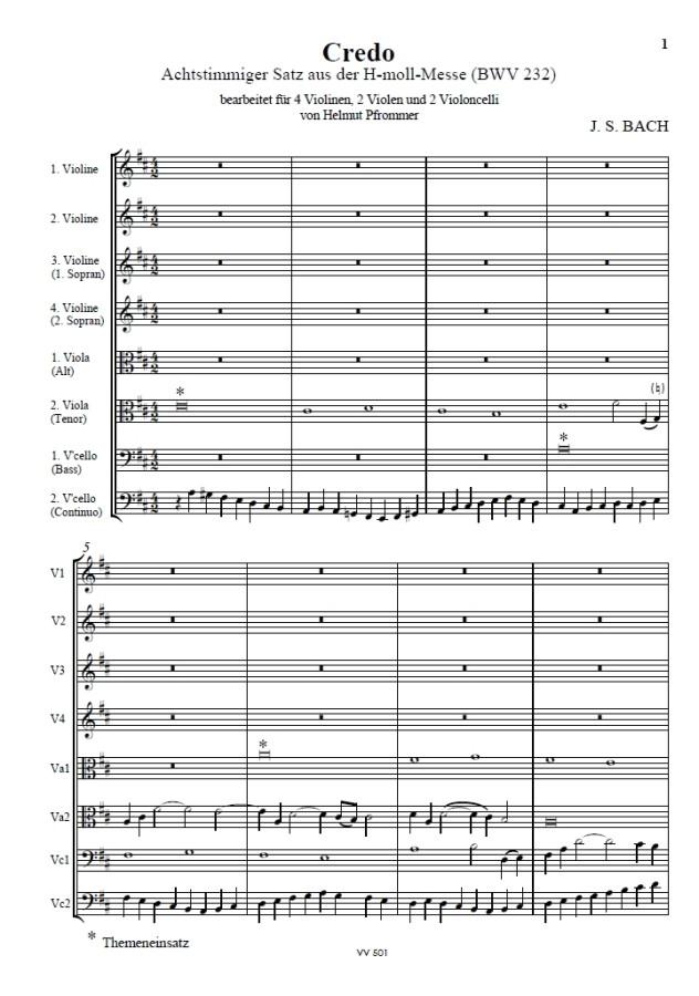 Credo - Eingangssatz für Streichoktett, BWV 232, für 4 Violinen, 2 Bratschen und 2 Violoncelli
