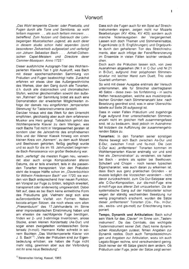 Das Wohltemp. Kl. I, Heft 1, 9 zweistimmige Sätze, für Violine und Bratsche (Violoncello)