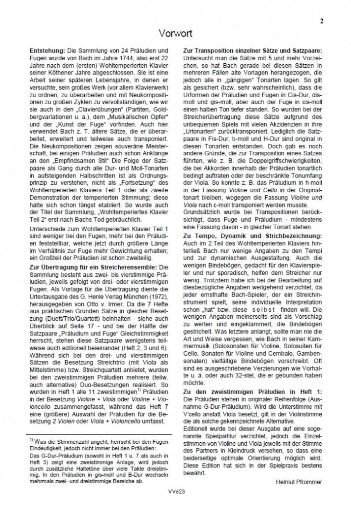 Das Wohltemp. Kl. II, Heft 1, 11 zweistimmige Präludien, für Violine und Bratsche oder Violine und Violoncello