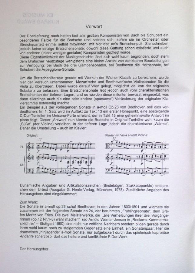 Sonate a-moll, op. 23, für Violine und Klavier, arrangiert für Bratsche und Klavier