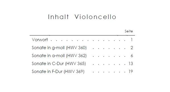4 Sonaten (HWV 360, 362, 365, 369), für Blockflöte und Basso continuo, arrangiert für Bratsche und Violoncello