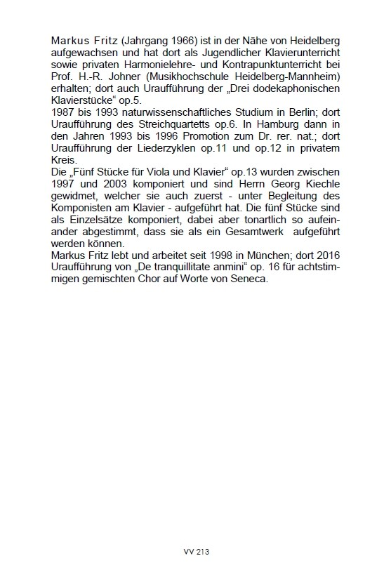 Fünf Stücke, op. 13, für Bratsche und Klavier, 1997-2003