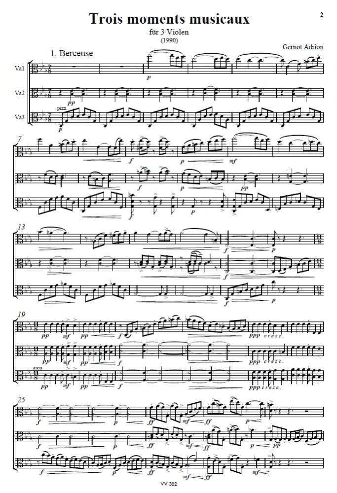 Trois moments musicaux, für 3 Bratschen