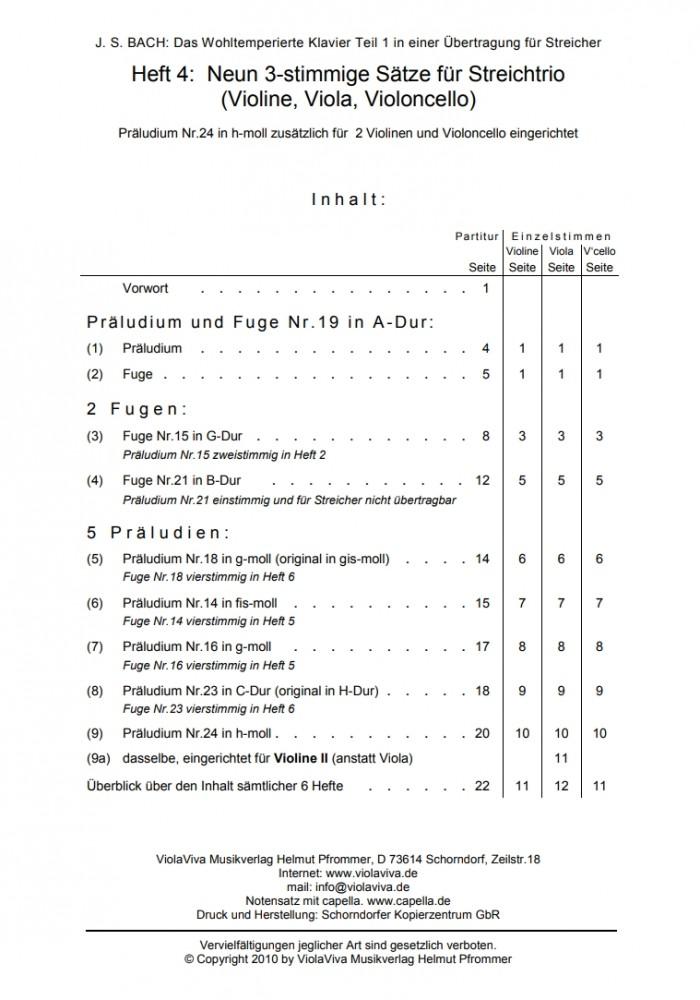 Das Wohltemp. Kl. I, Heft 4, 9 dreistimmige Sätze, für Violine, Bratsche und Violoncello