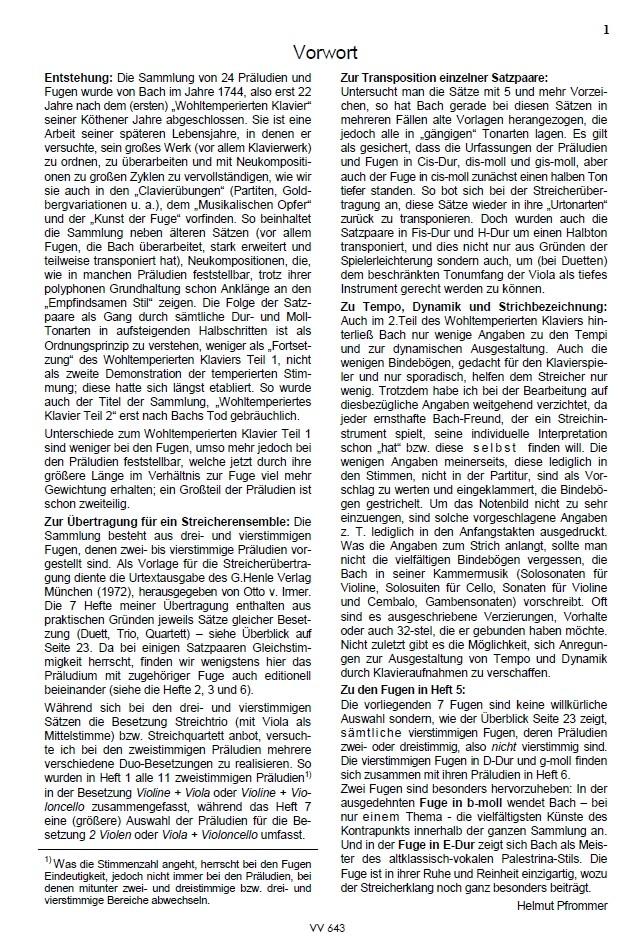 Das Wohltemp. Kl. II, Heft 5, 7 vierstimmige Fugen, für Streichquartett