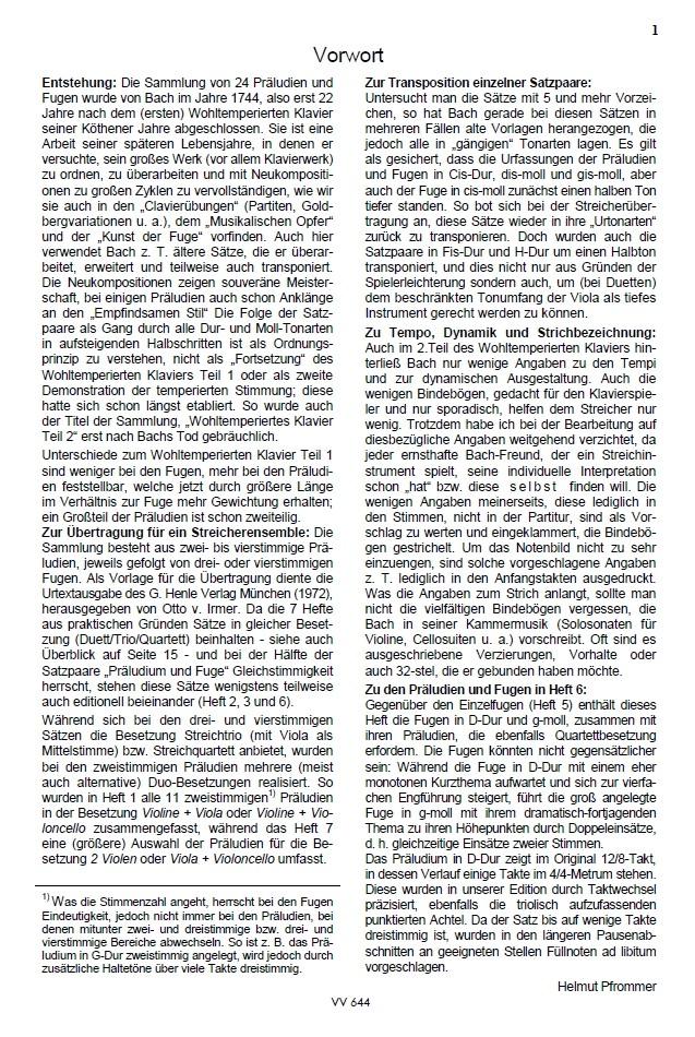 Das Wohltemp. Kl. II, Heft 6, 2 vierstimmige Präludien und Fugen, für Streichquartett